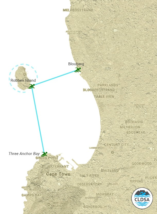 Robben Island Swim Routes