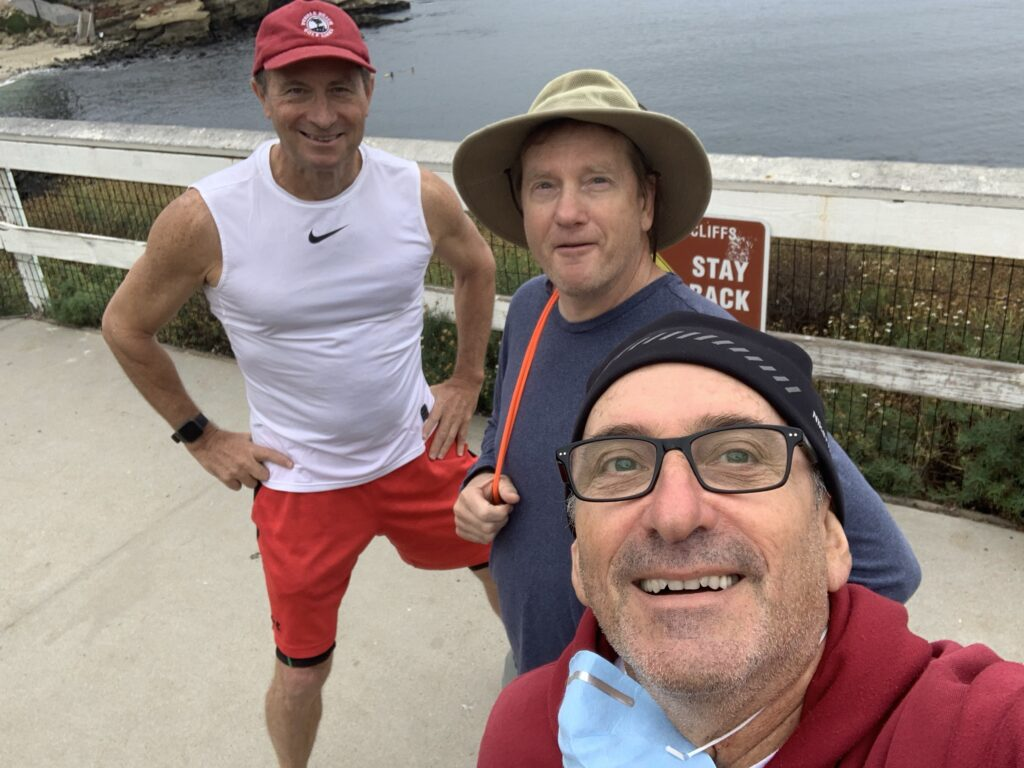 Kevin, Lon and Hilly before a training swim at La Jolla Cove