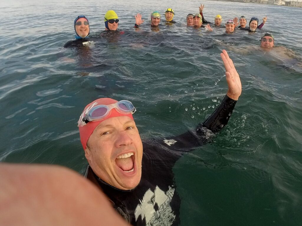 John Davis with Sunday swim group at the turnaround